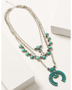 Shyanne Women's Autumn Sunset Turquoise Stone Multi Layer Squash Blossom Necklace, Silver, hi-res