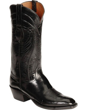 Lucchese Men's Black Goatskin Western Boots - Square Toe, Black, hi-res