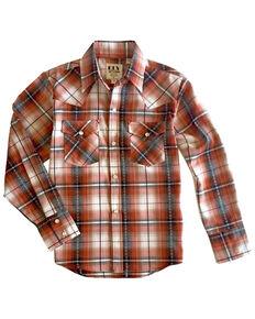 Ely Walker Boys' Rust Diamond Dobby Plaid Long Sleeve Western Shirt , Rust Copper, hi-res