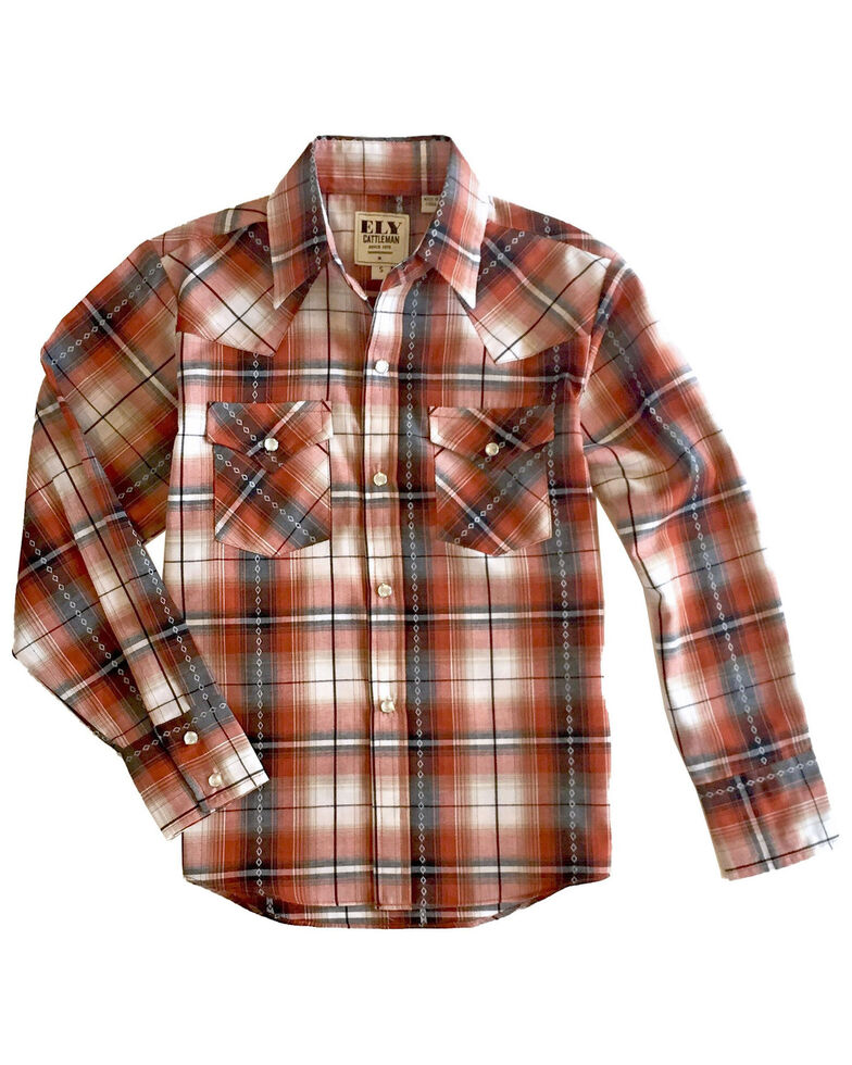 Ely Cattleman Boys' Rust Diamond Dobby Plaid Long Sleeve Western Shirt , Rust Copper, hi-res