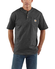 Carhartt Men's Grey Workwear Henley Shirt - Big & Tall , Dark Grey, hi-res
