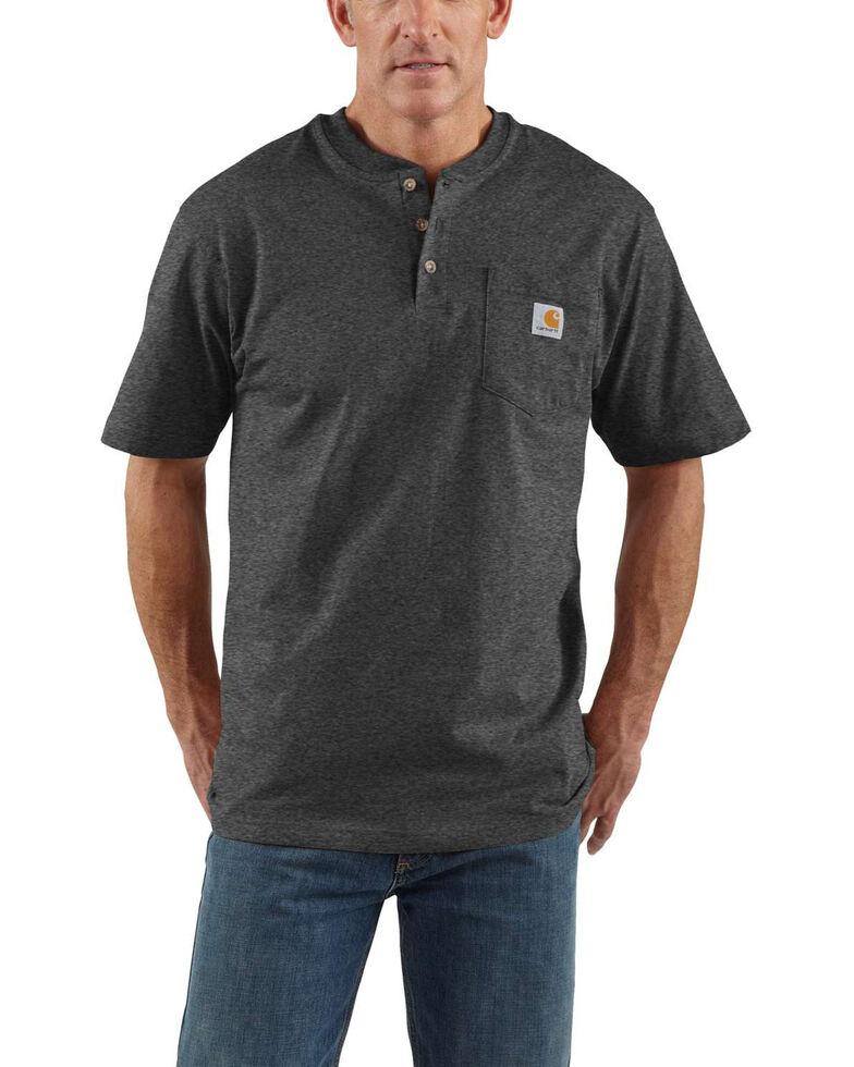 Carhartt Men's Grey Workwear Henley Shirt - Big & Tall , Dark Grey, hi-res