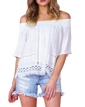 Miss Me Women's Ivory Crochet Off Shoulder Top , Ivory, hi-res