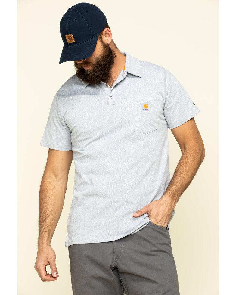 Carhartt Men's Grey Force Cotton Pocket Polo Work Shirt , Heather Grey, hi-res