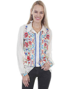 Honey Creek by Scully Women's Embroidered Button Down Long Sleeve Top, White, hi-res