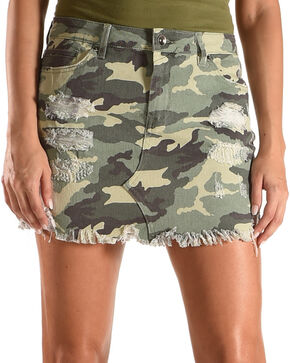 Tractr Blu Women's Camo Destructed Mini Skirt , Camouflage, hi-res