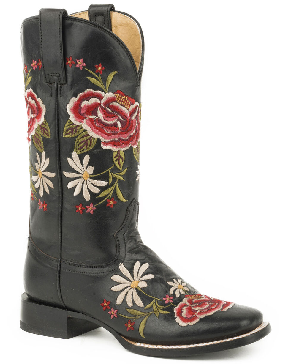 Stetson Women's Black Leather Rose Embroidered Boots - Square Toe, Black, hi-res