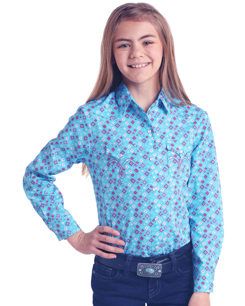 White Label by Panhandle Girls' Turquoise Diamond Novelty Print Long Sleeve Western Shirt , Turquoise, hi-res
