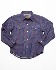 Amarillo Boys' Blue Foulard Geo Print Long Sleeve Western Shirt , Blue, hi-res