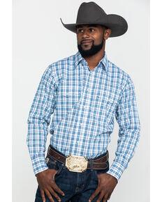 Wrangler Men's Wrinkle Resist Blue Plaid Long Sleeve Snap Western Shirt, Blue, hi-res