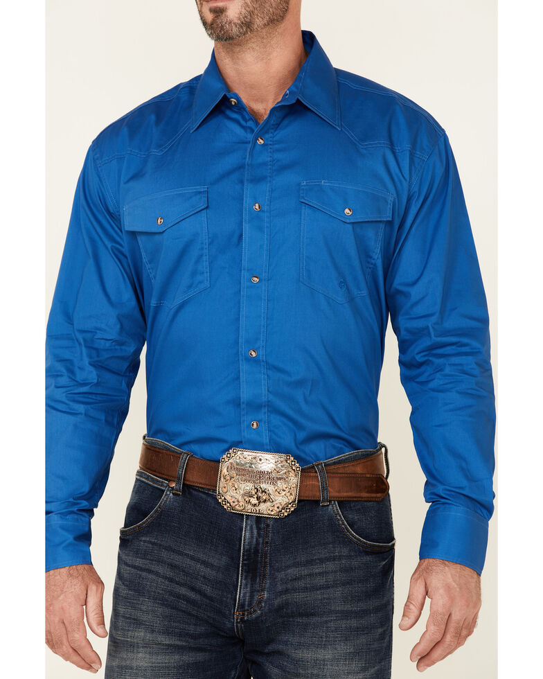 Roper Men's Amarillo Collection Solid Long Sleeve Western Shirt, Blue, hi-res