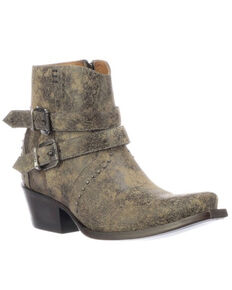 Lucchese Women's Rebel Buckle Moto Booties - Snip Toe, Tan, hi-res