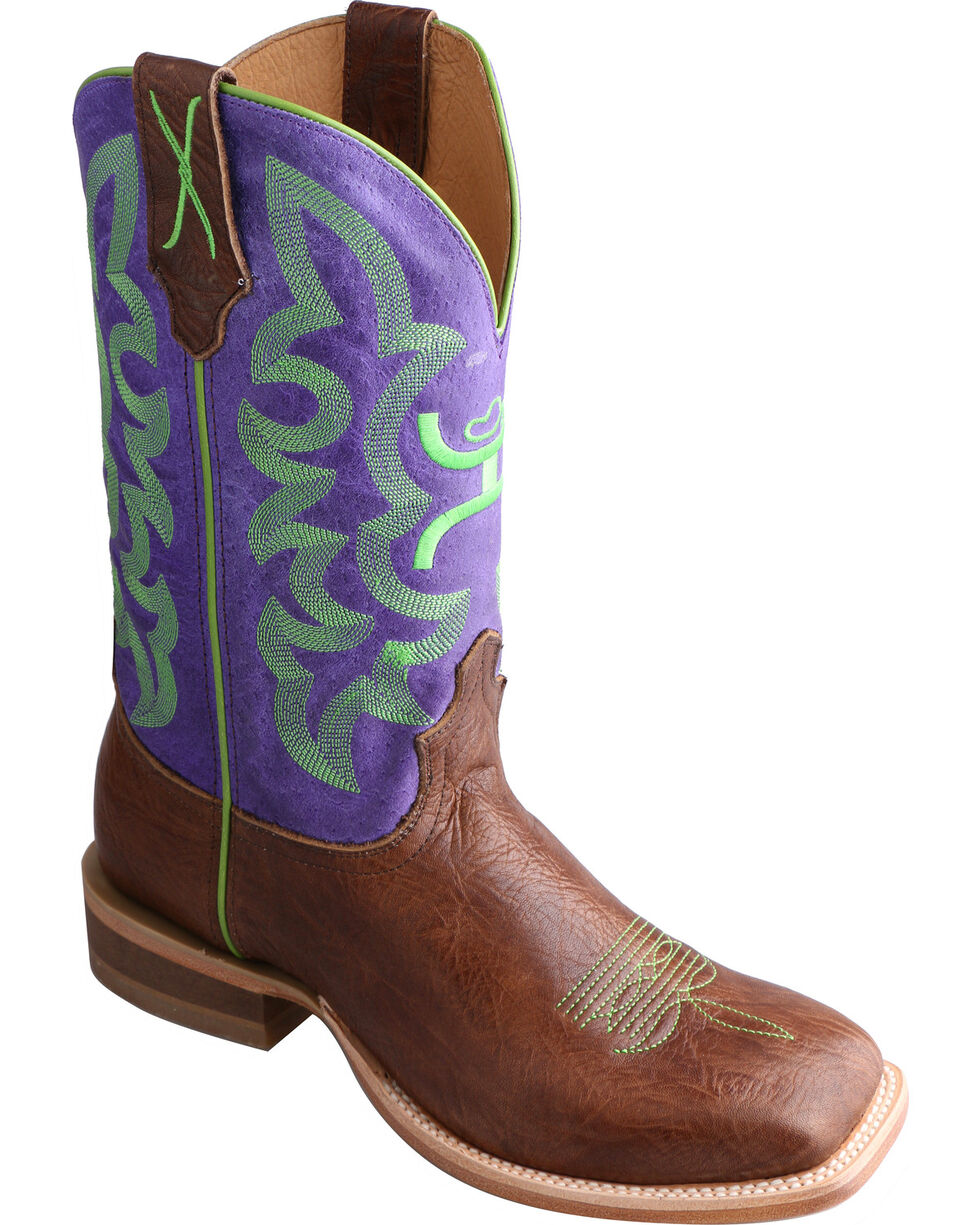 Twisted X HOOey Purple Cowgirl Boots - Square Toe, Brown, hi-res