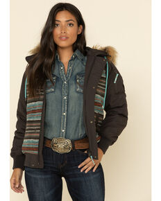 Cruel Girl Women's Aztec Stripe Faux Fur Hood Jacket , Brown, hi-res