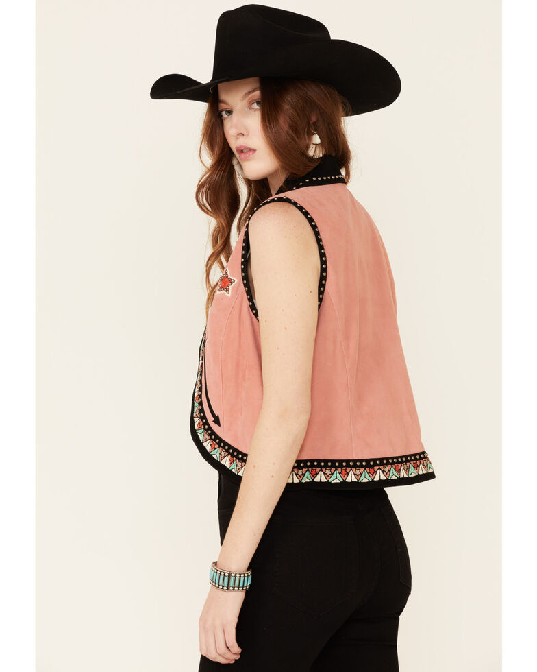 Double D Ranch Women's Song Of The West Suede Vest , Peach, hi-res