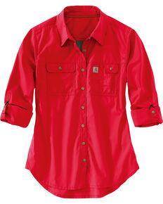 Carhartt Women's Force Ridgefield Shirt , Coral, hi-res