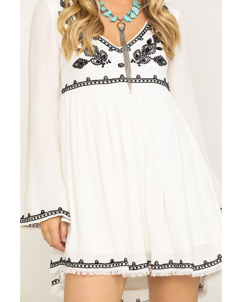 Shyanne Women's Mustard Embroidered Babydoll Dress , Ivory, hi-res
