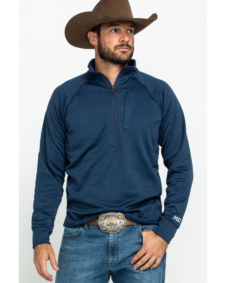 Wrangler 20X Men's Advanced Comfort Navy 1/2 Zip Pullover Sweatshirt , Navy, hi-res