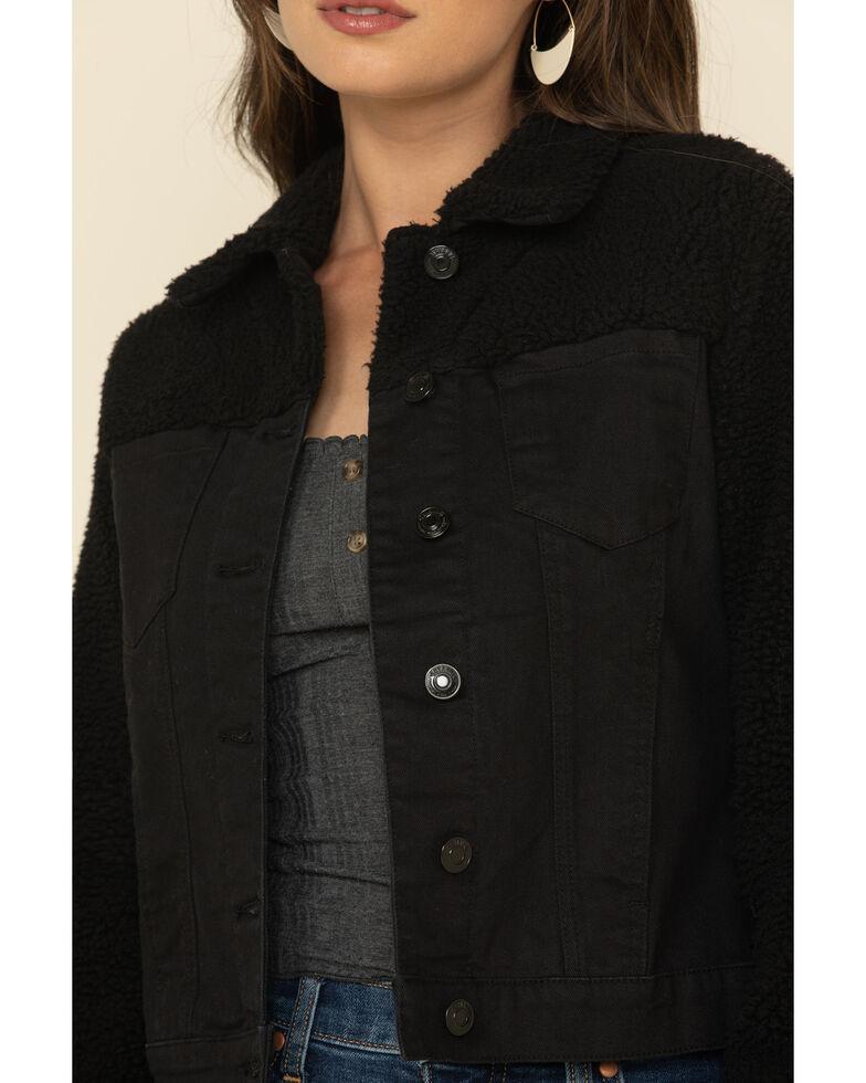 Shyanne Women's Black Denim Sherpa Yoke Trucker Jacket , Black, hi-res