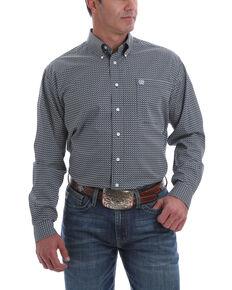 Cinch Men's Multi Square Geo Print Long Sleeve Western Shirt , Multi, hi-res