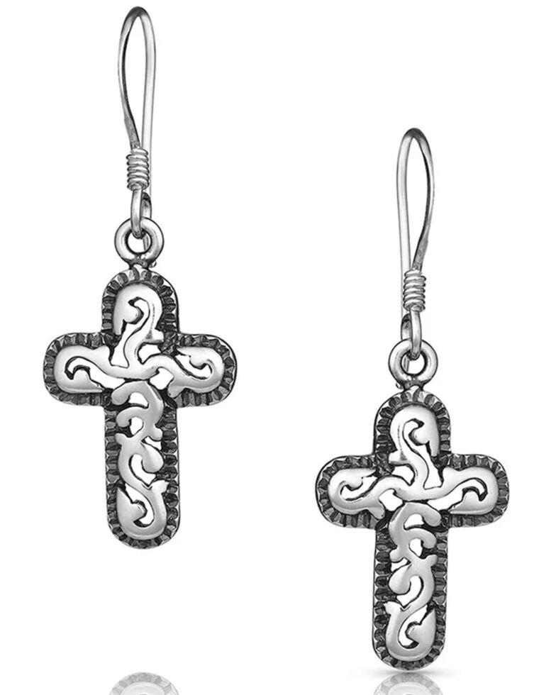Montana Silversmiths Women's Wrapped Filigree Cross Earrings, Silver, hi-res