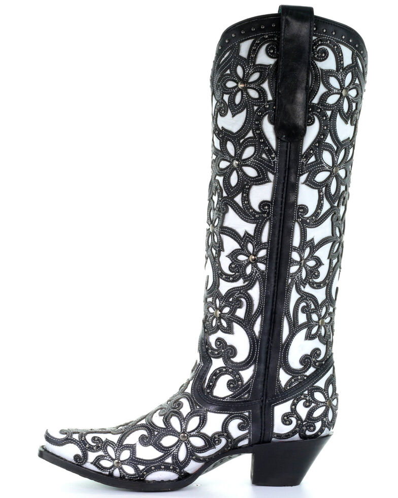 Corral Women's Floral Inlay Studded Western Boots - Snip Toe, Black, hi-res