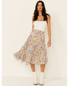 Shyanne Women's Mustard Paisley Asymmetrical Skirt, White, hi-res