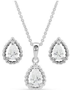 Montana Silversmiths Women's Arctic Rain Teardrop Jewelry Set, Silver, hi-res