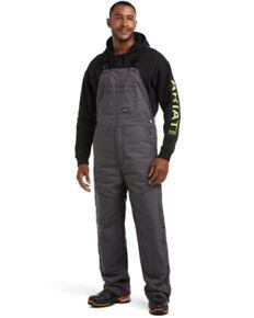 Ariat Rebar Men's Grey Duracanvas Stretch Insulated Work Bib Overalls , Grey, hi-res