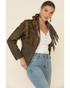 Cripple Creek Women's Acorn Fringe Front Studded Jacket, Medium Brown, hi-res