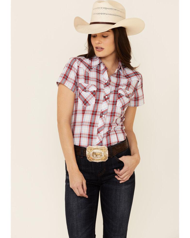 Roper Women's White Tablecloth Plaid Short Sleeve Snap Western Core Shirt , White, hi-res