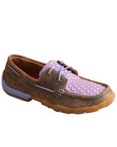 Twisted X Women's Woven Purple Boat Shoes - Moc Toe, Multi, hi-res