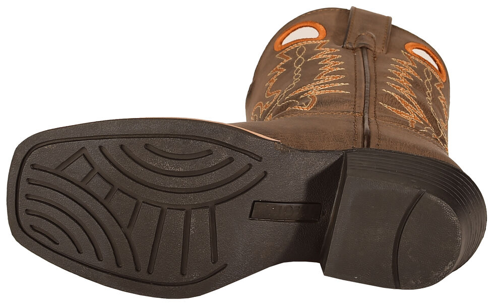 Swift Creek Youth Brown Pull Hole Cowboy Boots - Square Toe , Brown, hi-res