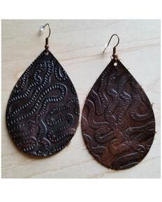Jewelry Junkie Women's Brown Embossed Teardrop Leather Earrings, Brown, hi-res