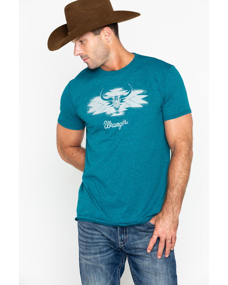 Wrangler Men's Geometric Steerhead Graphic T-Shirt, Teal, hi-res