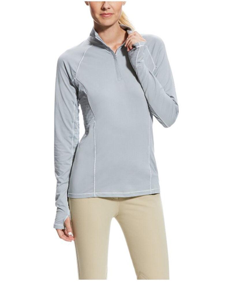 Ariat Women's Coastal Grey Lowell 2.0 1/4 Zip Long Sleeve Baselayer, Grey, hi-res