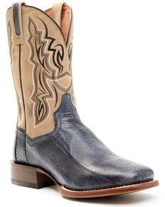 Dan Post Men's Exotic Snake Skin Western Boots - Wide Square Toe, Brown, hi-res