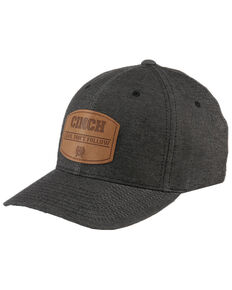 Cinch Men's Grey Leather Logo Patch Flex Fit Cap , Black, hi-res