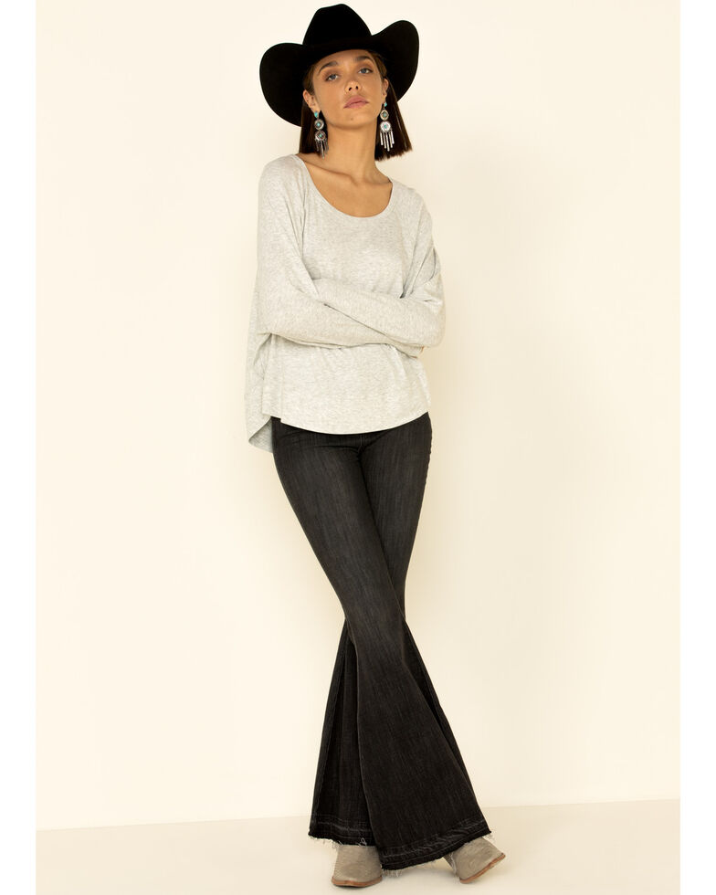 Angie Women's Heather Rib Slouchy Knit Long Sleeve Top , Grey, hi-res