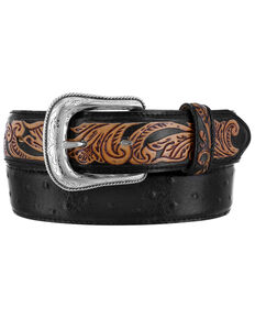 Tony Lama Men's Rustic Ostrich Western Belt, Black, hi-res