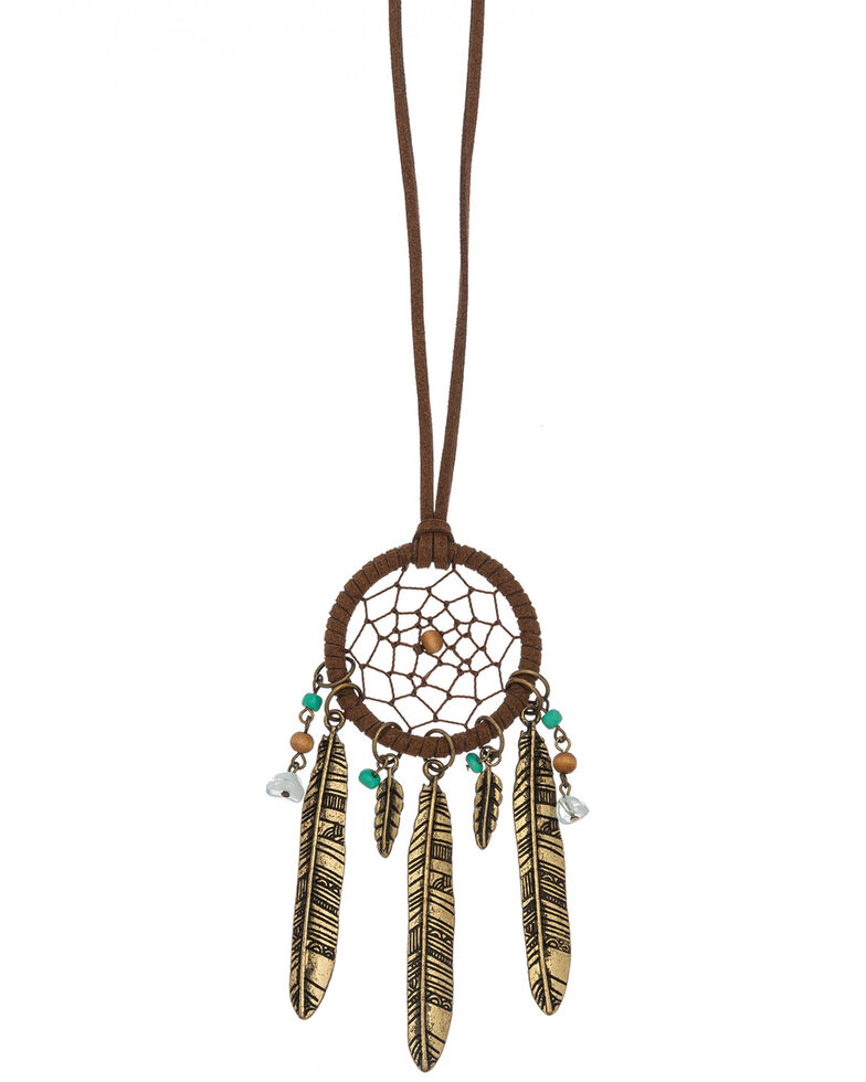 Howard's Women's Leather Dream Catcher Gold Feather Necklace, Gold, hi-res