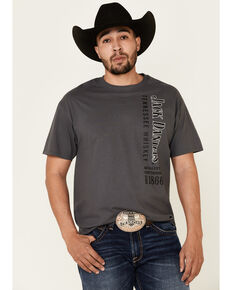 Jack Daniel's Men's Charcoal Vertical Logo Graphic Short Sleeve T-Shirt , Charcoal, hi-res