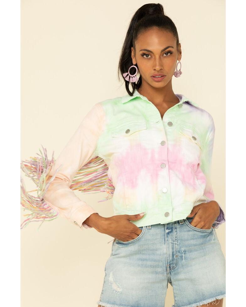Honey Creek by Scully Women's Tie Dye Fringe Jacket, Multi, hi-res