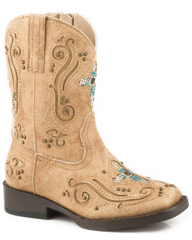 f86c11f5dfa Roper Toddler Girls' Faith Crystal Cross Cowgirl Boots - Square Toe