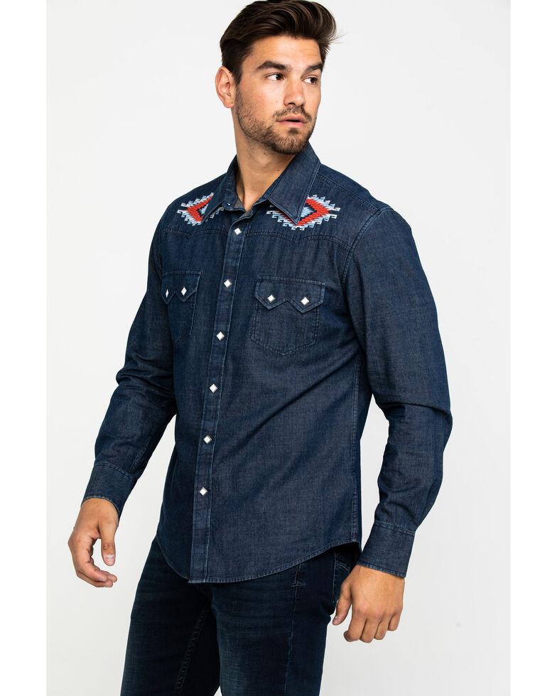 Rock & Roll Cowboy Men's Solid Aztec Accent Long Sleeve Western Shirt , Navy, hi-res