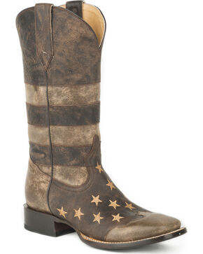 Roper Men's Brown Working Man's American Flag Boots - Wide Square Toe , Brown, hi-res