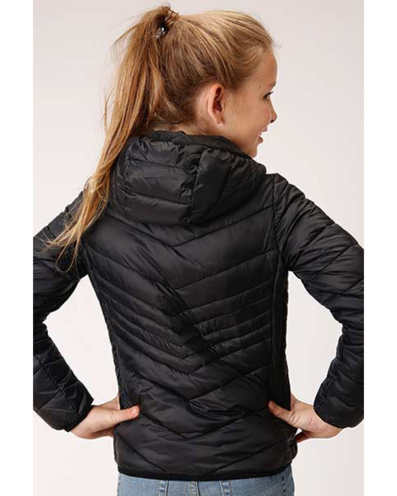 Roper Girls' Black Lightweight Quilted Jacket, Black, hi-res