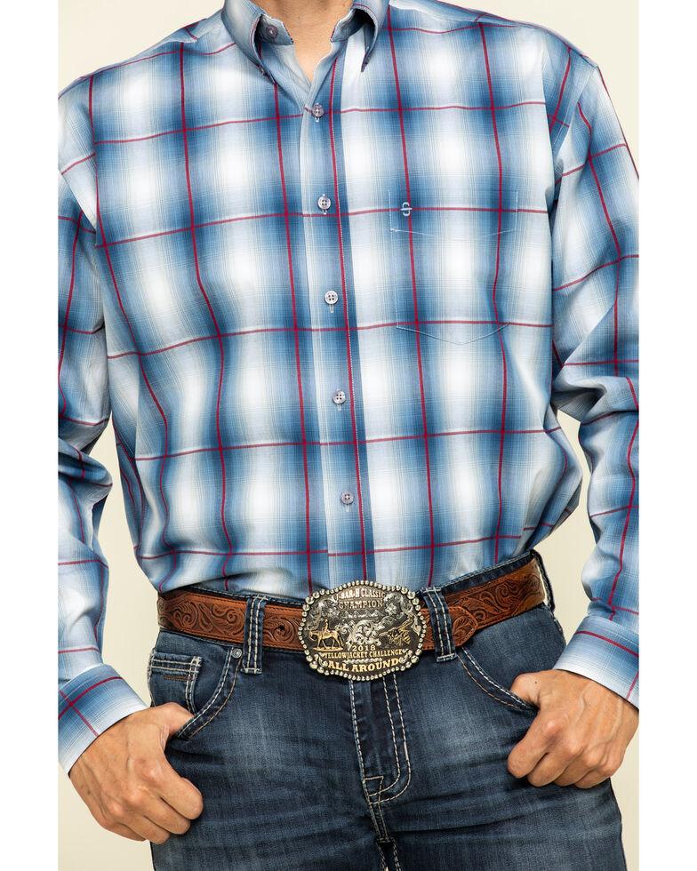 Stetson Men's Blue Large Ombre Plaid Long Sleeve Western Shirt , Blue, hi-res