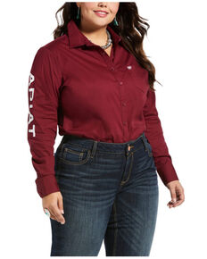 Ariat Women's Burgundy Team Kirby Stretch Shirt - Plus, Burgundy, hi-res