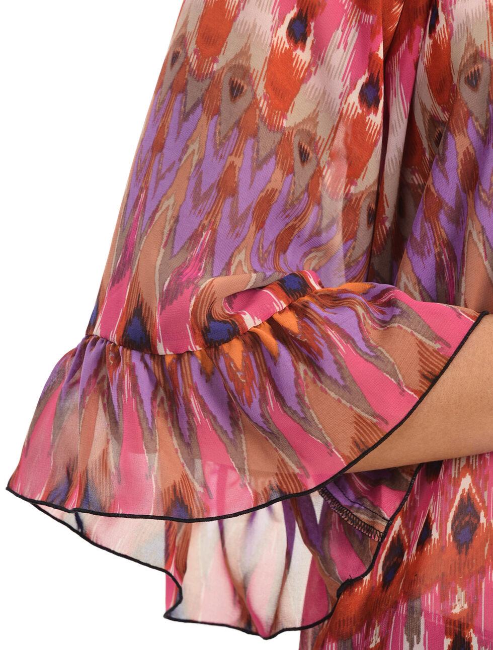Rock 47 by Wrangler Women's Ruffle Sleeve Elastic Neck Chiffon Shirt, Multi, hi-res